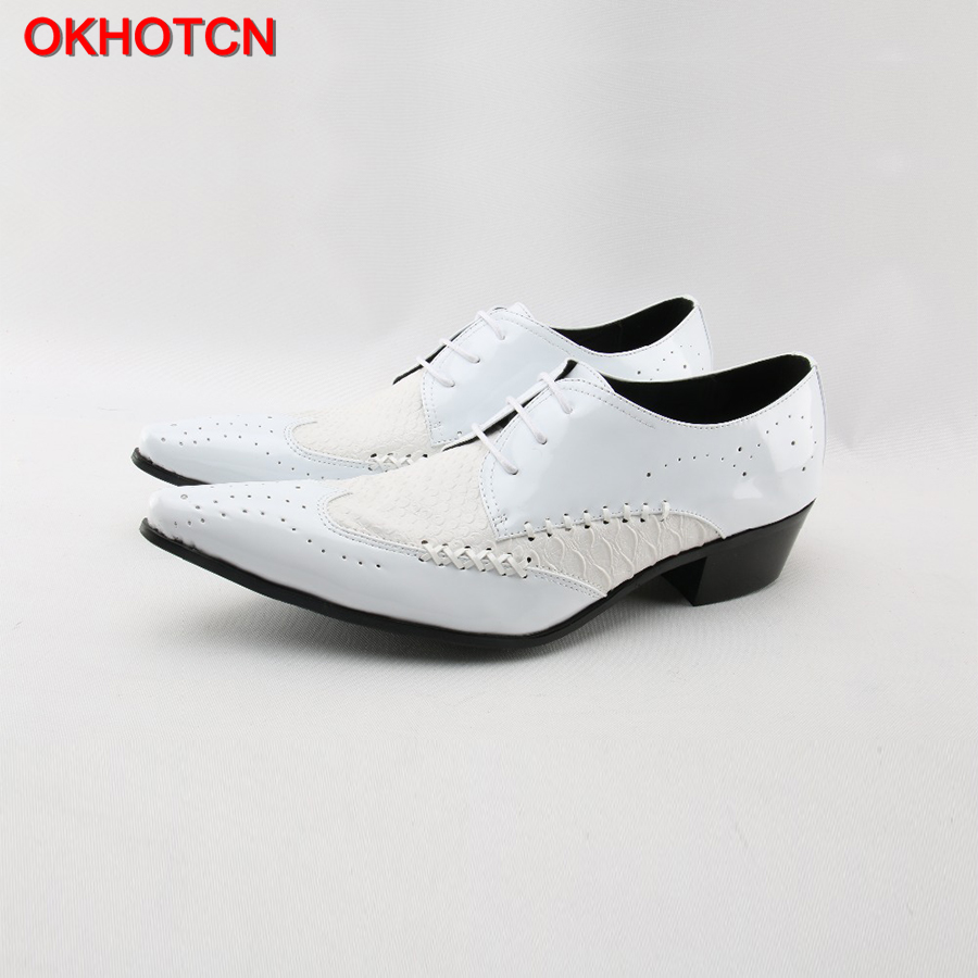 Hot Italian Classic Brogue Men Genuine Leather Shoes Lace Up Formal Business Dress Shoes Patchwork White Knit Men Wedding Shoes