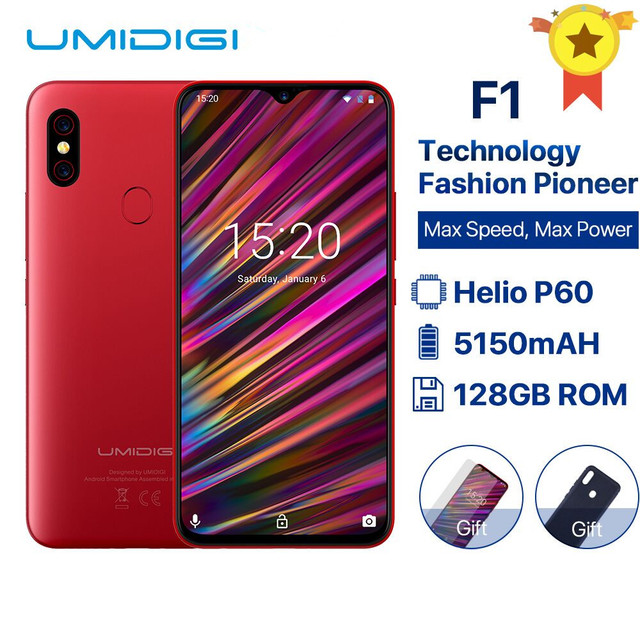 "UMIDIGI F1 Android 9.0 6.3"" FHD+ 128GB ROM 4GB RAM Helio P60 5150mAh Big Battery 18W Fast Charge Smartphone NFC 16MP+8MP Phone"