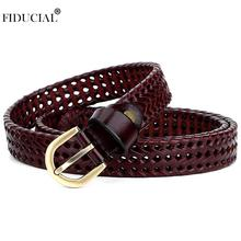 FIDUCIAL Unique Design Ladies Good Level Quality Knitted Genuine Leather Belts Women Jeans 2.7cm Wide Accessories Woman FCO019
