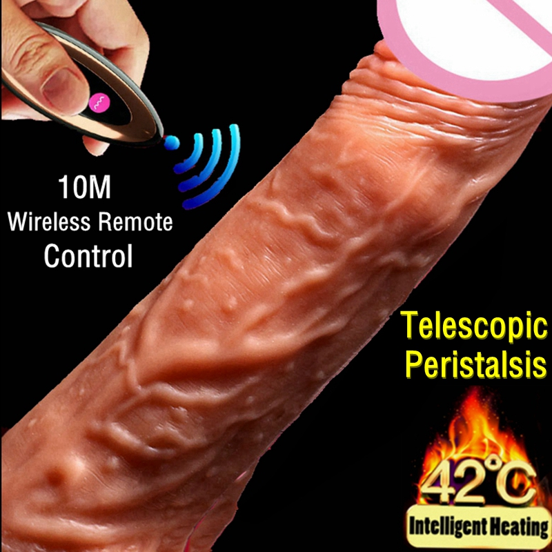 Remote Control Automatic Telescopic Heating Penis Vibrator Realistic Huge Dildo Vibrator Cock Sex Products Adult Toys For Women