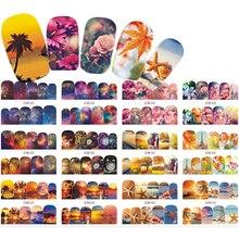 Adesivos de transferência para unha, adesivos de rosas flor de estrela peixe, decalques de transferência diy para arte de unhas de salão de verão de pçs/set, dicas de pontas TRBN853 864