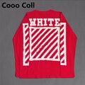 Красный Off White T shirt Tee Топы Диагональные полосы письма печатаются Крис Kanye С Длинным Рукавом Джастин Бибер Хип-Хоп Svitshot Cooo Coll