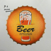 DL ICE COLD BEER ALWAYS ON TOP Bottle Cap Metal TRAY Antique Souvenir Home Office Retro Furnishing Articles Wall Decor
