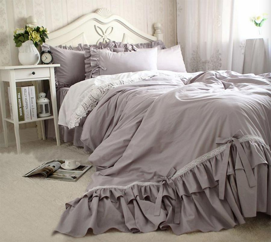 Grey Ruffle Comforter Set Twin