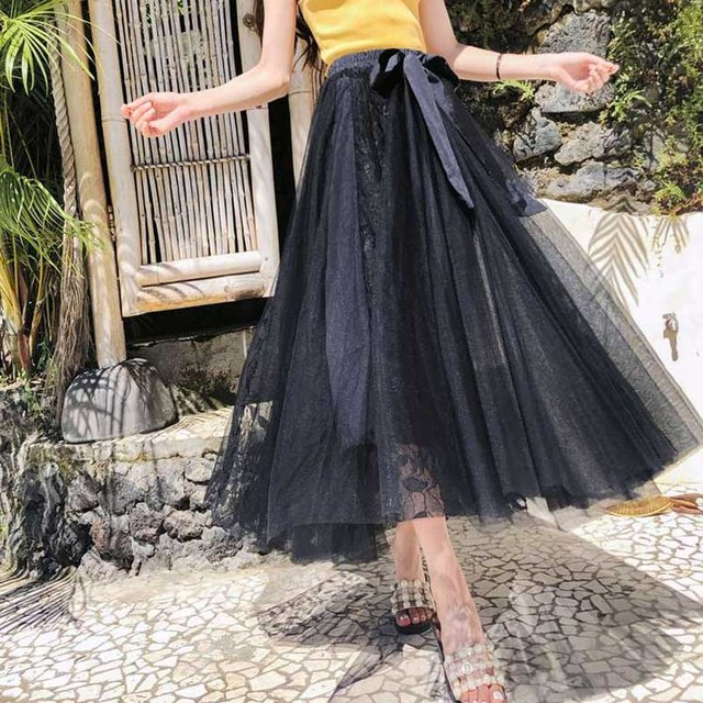 70d4cf9770c21 Elegant Bow Patchwork Hollow Out Ball Gown Pleated Skirts 2019 New Summer Mesh  Skirts Fashion High Waist Lace Long Women Skirt