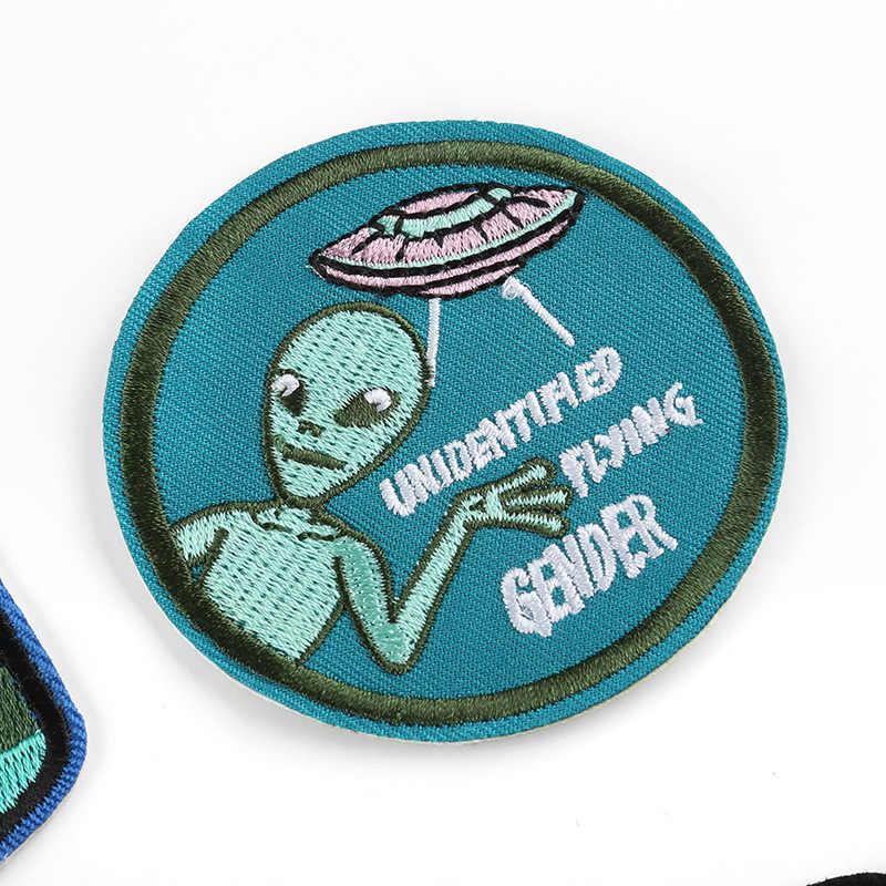 Tinh tế bên ngoài không gian Ngoài Hành Tinh Punk Miếng Dán Sắt Trên hộp thư cao điểm Appliques Người Cá bé trai Tự Làm quần áo trẻ em Phối Miếng Dán
