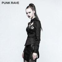 PUNK RAVE 2017 Design Rivet Decoration Blouse Retro Cotton Ladies Sexy Shirts Women Steampunk Rock Long