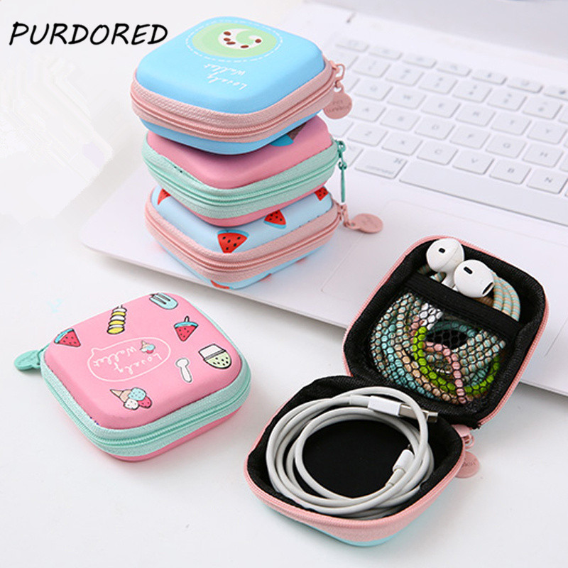 PURDORED 1 Pc Portable Mini Cartoon Earphone Organizer Bag  Pouch Digital USB Cable Packing  Bag Travel Accessories Dropshipping