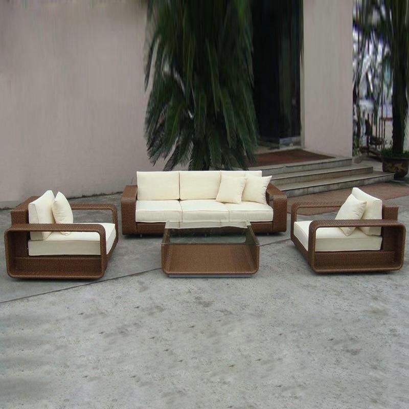 цена на 4-pcs PE new design garden rattan sofa patio furntiure Pastoralism Home Indoor / Outdoor Rattan Sofa For Living Room