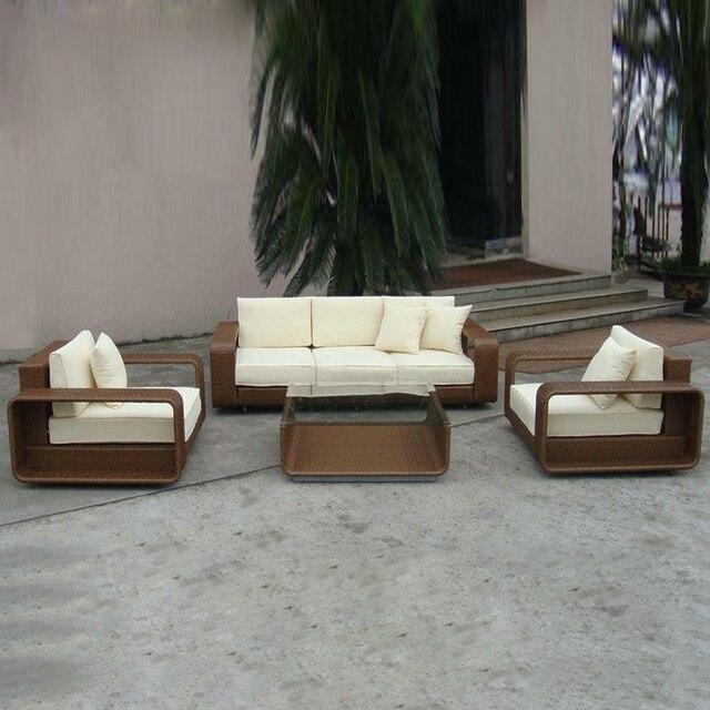 4 Pcs Pe New Design Garden Rattan Sofa Patio Furntiure Pastism Home Indoor Outdoor For Living Room