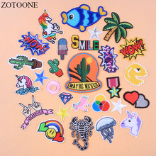 ZOTOONE Iron On Unicorn Rainbow Cactus Patches For Clothing Transfer Embroidery Letter Animal Military Patch Stickers Applique E