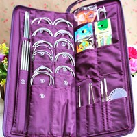 Excellent Stainless Steel Straight Circular Knitting Needles Crochet Hook Weave Set For Home Sewing Handmade Protable