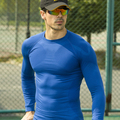 Newest workout fitness men long sleeve t shirt men thermal muscle bodybuilding wear compression tights exercise clothing