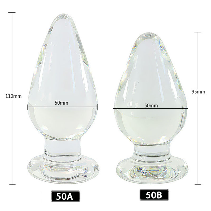 New 50mm Diameter Transparent Glass Anal Plug Anus Dilator Buttplug G Spot Stimulator Anal Balls Butt Plug Sex Toys For Woman
