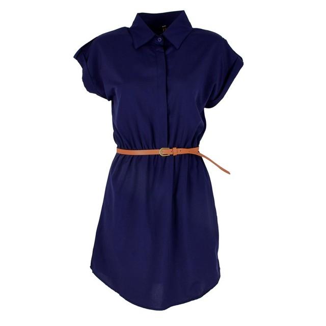 2017 Fashion Women's Short Sleeve Stretch Chiffon Casual OL Belt Mini Dress Vestidos