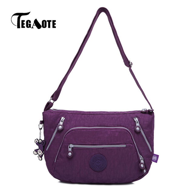 Tegaote 2017 New Nylon Bags Female Zipper Waterproof Handbags Women Solid Shoulder Beach Bag Sac
