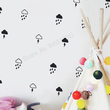 Art  Wall Sticker Cloud With Rain Decoration Lightning Rainbow Decal Vinyl Removeable Poster Modern Ornament LY182