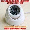 Cvbs sony imx323 4-em-1 1080 p cvi tvi ahd cmos de 2mp megapixel ir globo ocular 24x LED 15 m IR CUT Câmera Dome Menu OSD Indoor 500 m coaxial