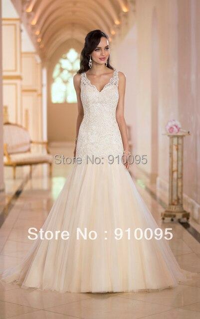 V Neck Wedding Dress 2014 V Backless Bridal Gown Online Shop Lace ...