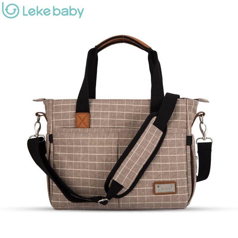 lekebaby luiertas cotton plaid messenger baby stroller travel maternity nappy diaper bag organizer baby bags handbags for moms