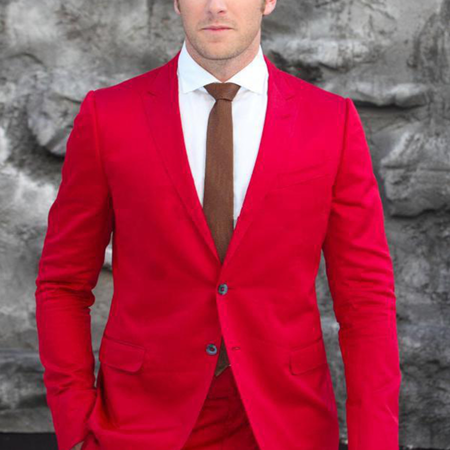 Slim Fit 2 Piece Red Suit Promotion-Shop for Promotional Slim Fit