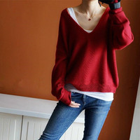 sweaters fashion 2018 women cashmere tops sexy v neck sweater loose 100% wool sweater blouse batwing sleeve plus size pullover