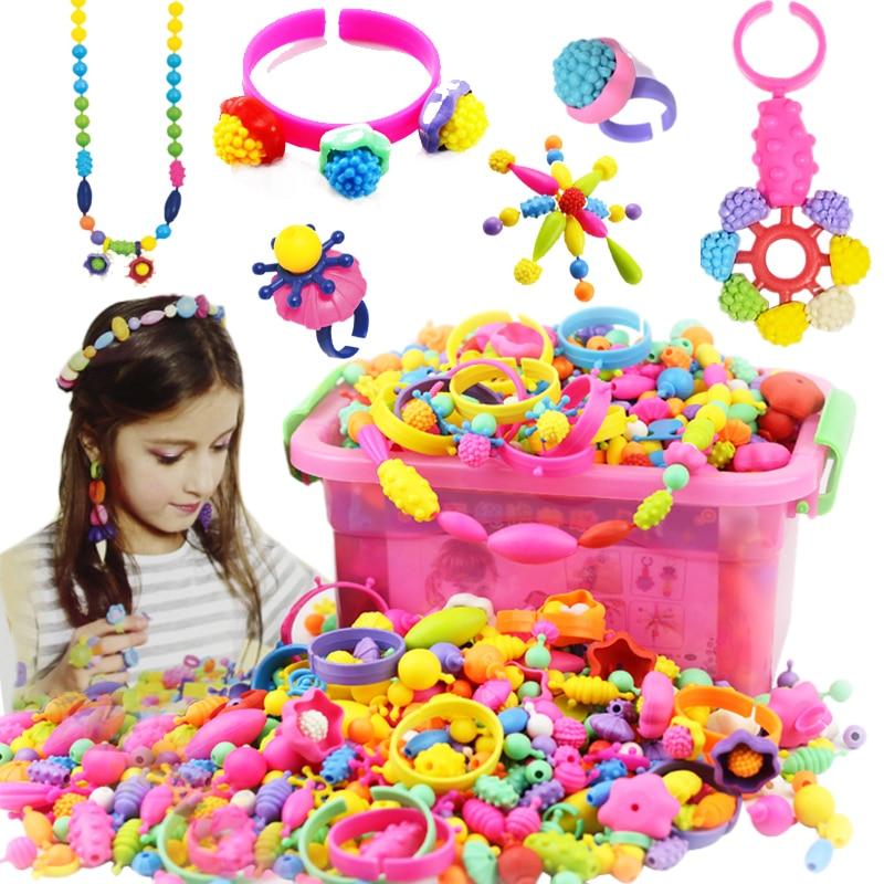 Non-tali DIY Mainan Untuk Anak-anak String Beads Make Up Puzzle Mainan Perhiasan Kalung Gelang Kit Bangunan Pendidikan Blok mainan
