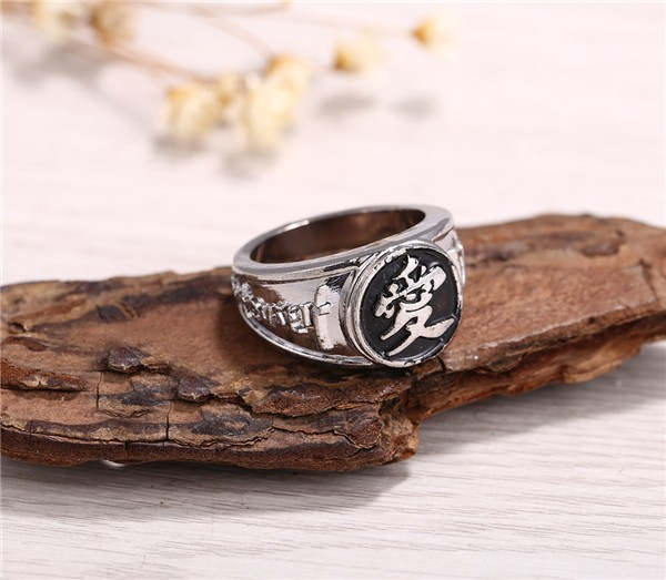 Naruto Black Gaara Rings Siver Plated Rings