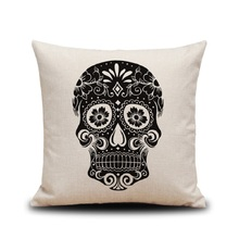 New Pillowcase Halloween Skull Cushion Cover Cotton Linen Printed Throw Pillows Decorative 45x45cm For House Sofa Car Home Decor