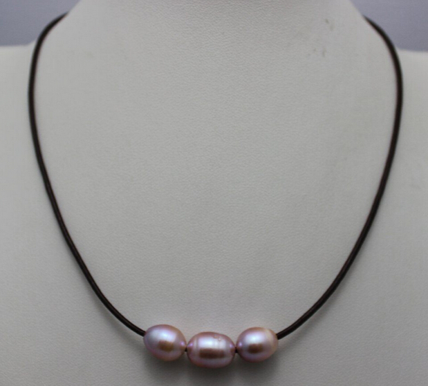 9a2ca3d5f7e8 Rápido shippingbrown cuero 3 natural colores púrpura de agua dulce perla  necklace10x12mm 17 Nuevo