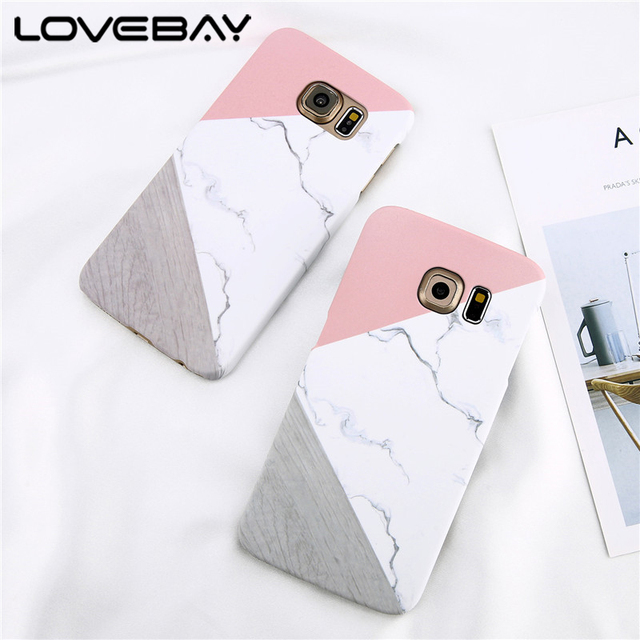 Loveabay Phone Case For Samsung Galaxy S6 S7 Edge Marble Geometric Stitching Stone Hard Back Cover Cases For Galaxy S8 S9 Plus