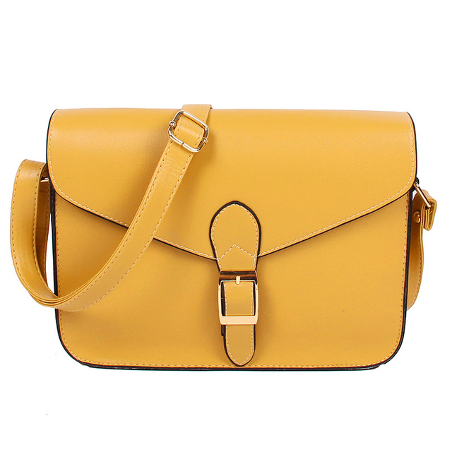Women S Handbag Messenger Bag Preppy Style Vintage Envelope Shoulder High Quality Briefcase Yellow