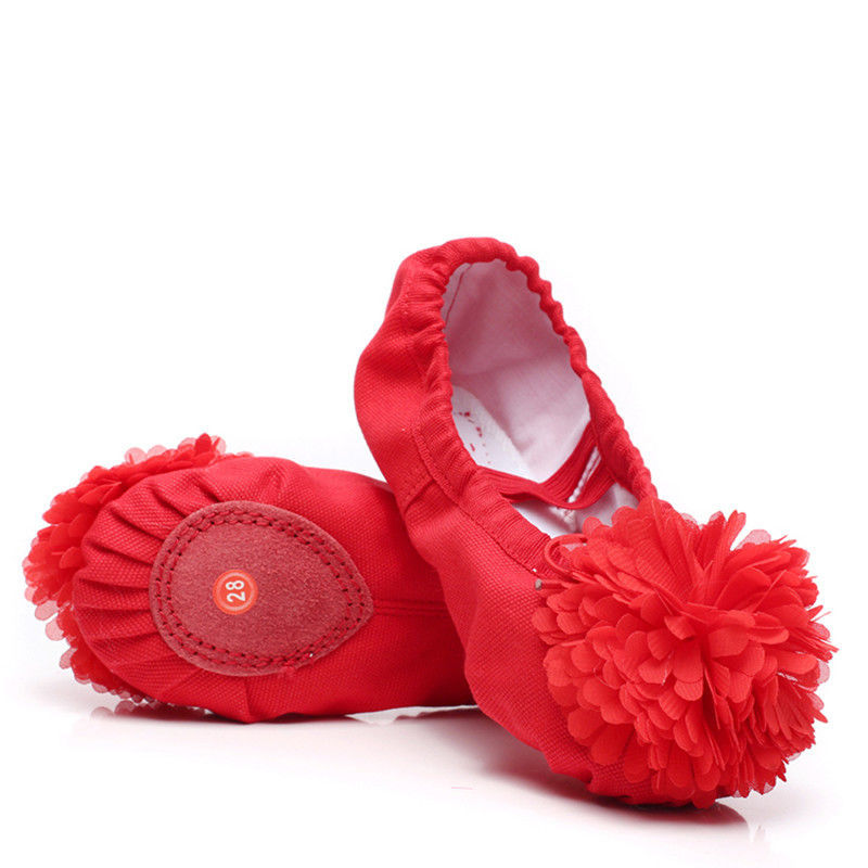 2019 Toddler Girl Shoes Training Ballet Shoes Kids Canvas Slip On Light Ballet Flats Flower Cute Girls Dance Shoes Soft 26-38