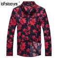 New Design Floral Print Men Casual Shirt 2015 Slim Long Sleeve Shirts Fashion Men's Shirts Camisa Masculina Men's Clothing 1107