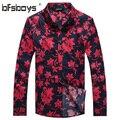 Novo Design Floral Impressão Homens Casuais Camisa 2015 Magro Camisas de Manga Longa Camisas Camisa Masculina dos homens Da Forma dos homens roupas 1107