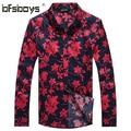 Nuevo Diseño de la Impresión Floral de Los Hombres Camisa Casual 2015 Camisas de Manga Larga Delgado hombres de la Moda Camisas Camisa Masculina de Los Hombres ropa 1107