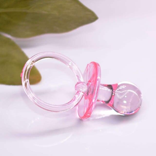 Online Shop 12pcs Pink Blue Clear Large Pacifier Ribbon Necklaces