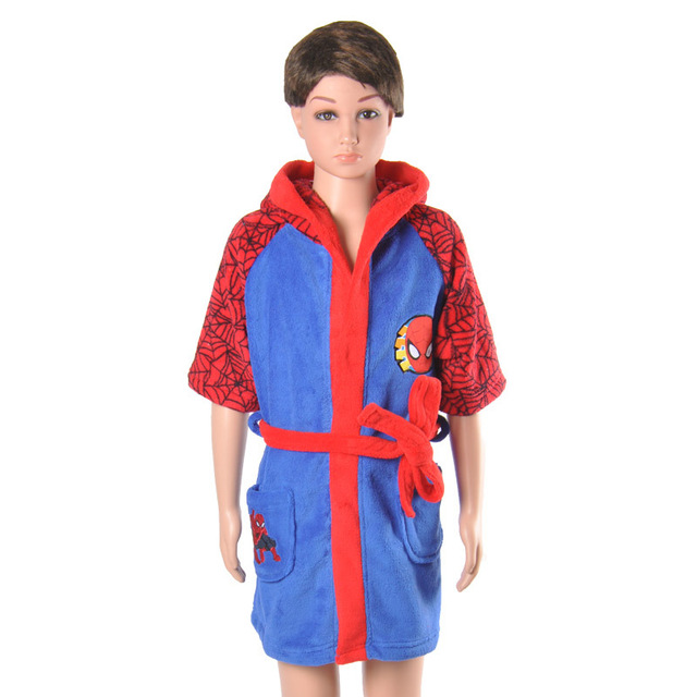 81d021c431 Kids Bathrobe Cartoon Spiderman Coral Fleece Boys Robe Roupao Infantil  Pajamas Sleepwear Free Shipping