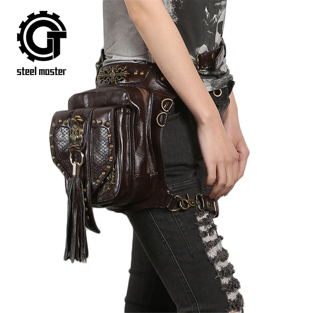 Steampunk Skull Waistbag Women Gothic Tassels Leather Bags Leg Bags Brown Cross Body Bag 2017 Fashion Phone Case Holder gothic skull cross rivet cow leather double fold wallet brown