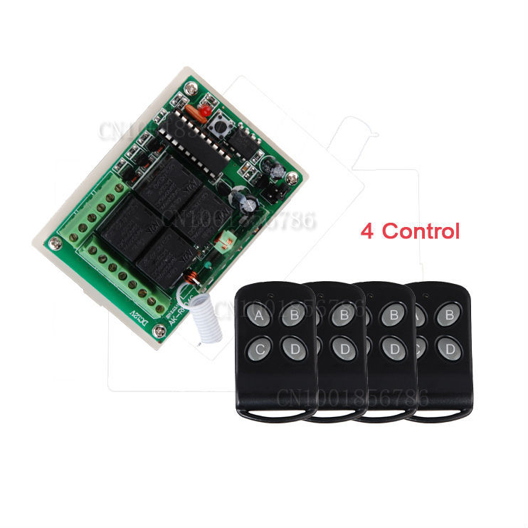 DC12V 4CH Wireless RF Remote Control Switch System Receiver&Transmitter Momentary Toggle Latched LED SMD ON OFF new dc12v 4 relay ch momentary toggle latched rf remote control switch system wireless receiver
