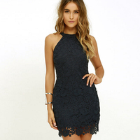 2018 Summer Women Sexy Lace Dress Elegant Party Sexy Night Club Casual Dresses Halter Neck Sleeveless Sheath Bodycon Mini Dress