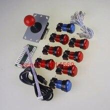 New Arcade DIY Kits Accessorie USB Encoder PC To Joystick + 5 Pin Joystick + 8 x China LED Illuminated Push Buttons MAME Games