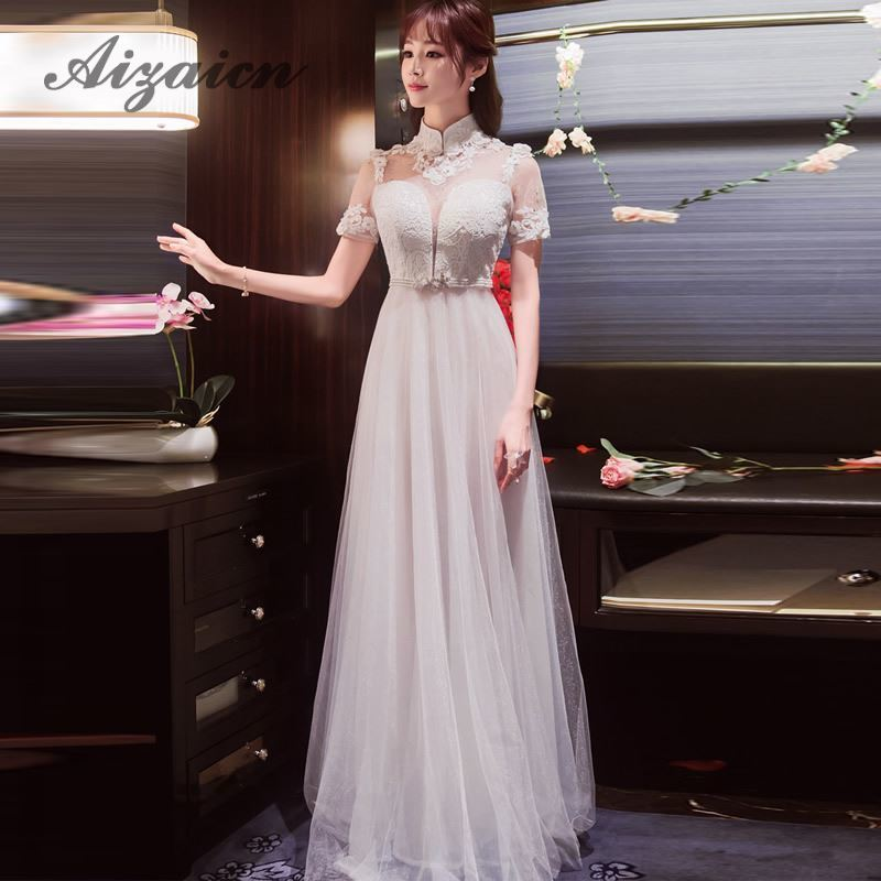 Summer Women Sexy Flowers Chinese Traditional Wedding Dress Cheongsam White Lace Perspective Mesh Robe Oriental Evening Dresess