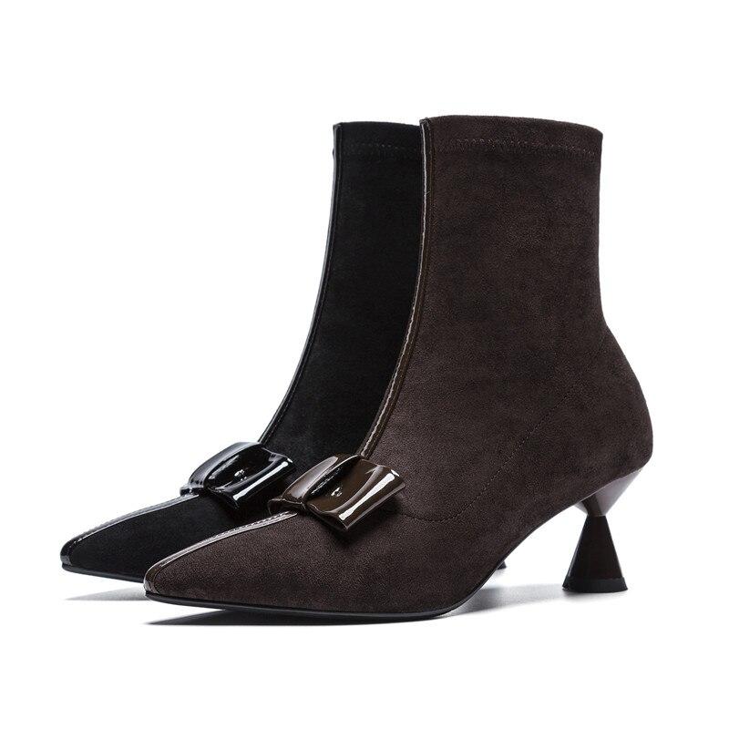 En Chaussures Cheville Papillon Talons 2018 Femmes Bout Vache Cuir Troupeau Verni Hauts Noeud Mode Bottes Masgulahe coffee Noir Dames Pointu T68PAPq
