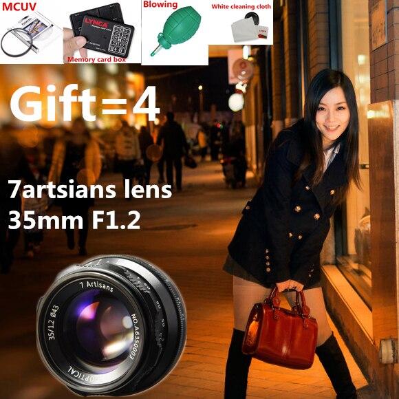 7 artsians 35mm F1.2 APS-C lentille fixe manuelle pour monture E Canon monture EOS-M Fuji FX M43 monture offre spéciale livraison gratuite