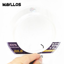 Mavllos 50m 100m ژاپن فیبر کربن Monofilament Carp Fly Fishing Fuorocarbon Line Leader Pwoer 100٪ Fluorocarbon خط ماهیگیری