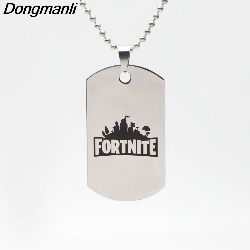 P2160 Wholesale 20pcs/lot ot Classic FPS Game Fortnite Logo Necklace Stainless Steel Pendant Laser Printing Personalized