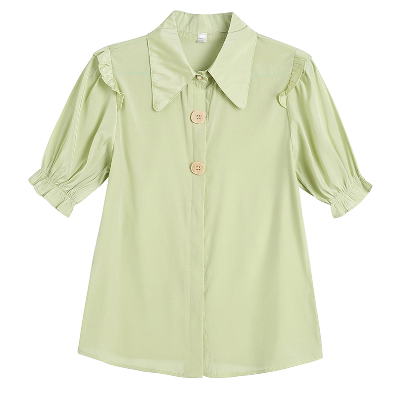 New Summer Women   Shirts   Lantern Short Sleeve Chiffon Fungus Brim   Blouse     Shirt   White Green 585