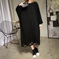[XITAO] 2017 new spring Korea oversize wind female loose hole hollow out long sleeve round collar batwing sleeve dress ATT027