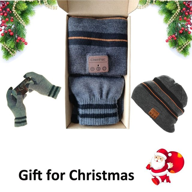 Warm Hat bluetooth hat 4.2 Touch Screen gloves headphones and headset cap hats box music hat soft beanies  Christmas gift